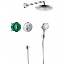 Set de dus Hansgrohe, Raindance Select S, cu baterie termostatata ShowerSelect S, crom