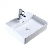 Lavoar pe blat Fluminia, Mercur, 52 cm, dreptunghiular, alb