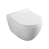 Set vas WC suspendat, Fluminia, Minerva, rimless, cu capac quick release si soft close, alb