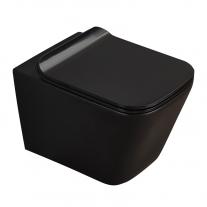 Set vas WC suspendat, Fluminia, Paris, rimless, cu capac quick release si soft close, negru mat