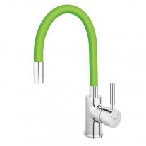 Baterie de bucatarie, Ferro, Zumba, cu pipa flexibila verde