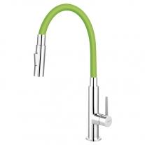 Baterie de bucatarie, Ferro, Zumba Slim 2F, cu pipa flexibila, verde