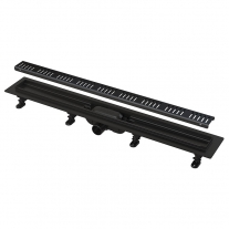 Set rigola de dus cu capac, AlcaPlast, Simple, 75 cm, negru mat