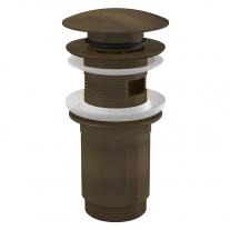 Ventil pentru lavoar cu preaplin, AlcaPlast, cu click-clack si dop mare, bronz antic