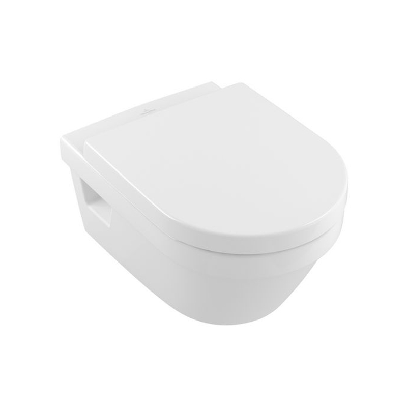 Vas WC rotund, suspendat, direct flush, cu capac soft close, alb, Arhitectura