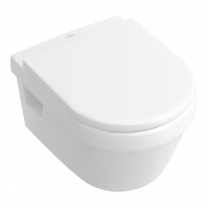Set vas WC suspendat Villeroy & Boch, Architectura, COMPACT, Direct Flush, cu capac Soft Close, Quick release, alb